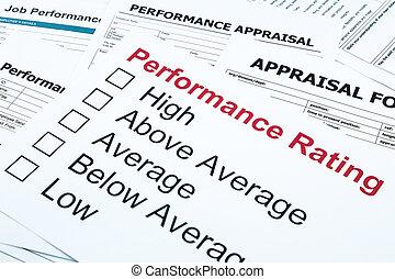 optræden, rating, og, taksering, form