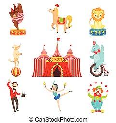 optræden, sæt, cirkus, bogstaverne, emne