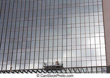 optuigen, venster, wolkenkrabber