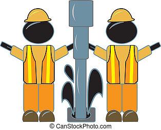 optuigen, werkmannen , de boring van de olie