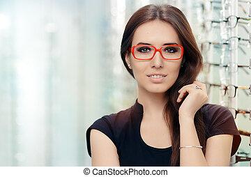 optyczny, kobieta, zaopatrywać, okulary