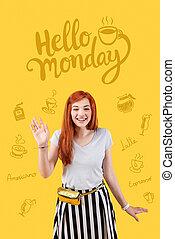 optymistyczny, osoba, uśmiechanie się, i, powitanie, nowy dzień
