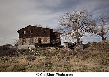 opuštěný, chata, bouda, ubytovat se, domů, dřevo, konstrukce, grunge, čelil