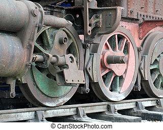 opuštěný, parní lokomotiva