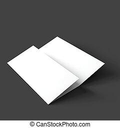 opuscolo, mockup., carta, trifold, vuoto