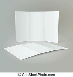 opuscolo, tri-fold, mockup, disegno, &