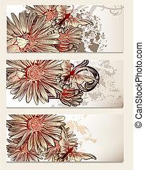 opuscolo, vettore, set, con, elementi floreali, per, disegno