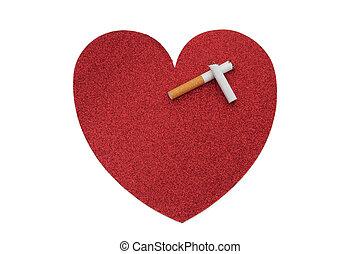 opuszczać, zdrowszowy, palenie, serce