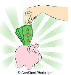 opuszczenie, dolar, bank., ręka, świnka