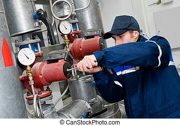 opvarmning ingiør, ind, dampkedel rum