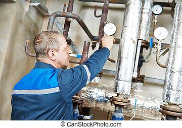 opvarmning ingiør, repairman, ind, dampkedel rum