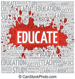 opvoeden, woord, wolk, opleiding, concept