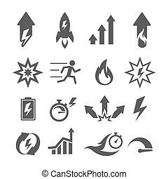 opvoering, iconen, actie, vector, groei, doelmatigheid