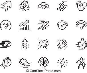 opvoering, lijn, iconen