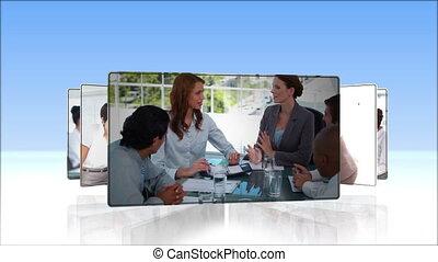opvolging, van, zakenlui, video