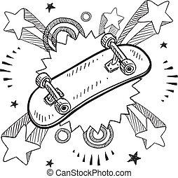 opwinding, schets, skateboard