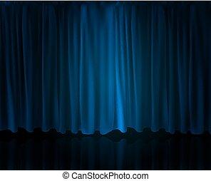 opzione, cinema., illustrazione, realistico, vettore, tenda, casa, curtain., riflettore, palcoscenico