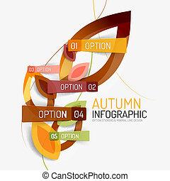 opzione, infographic, autunno, disegno, bandiera, minimo