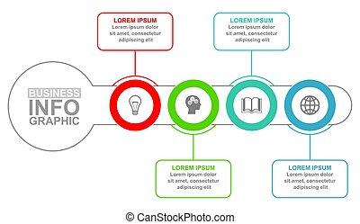 opzioni, 4, vettore, presentazione affari, infographic, sagoma