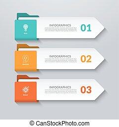 opzioni, parti, 3, infographic, arrows., passi