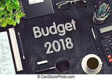 orçamento, 2018, ligado, pretas, chalkboard., 3d, rendering.