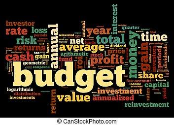 orçamento, conceito, em, tag, nuvem