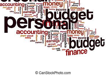 orçamento, palavra, pessoal, nuvem