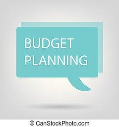 orçamento, planificação, escrito, ligado, borbulho fala