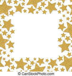 or, éclat, jaune, stars., cadre, chatoiement, confetti., star.
