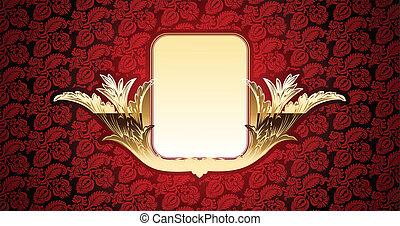 or, élément, vecteur, fond, rouges, lueur