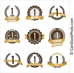 or, 1er, anniversaire, insignes, année