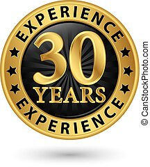 or, 30, expérience, années, vecteur, étiquette, illustration