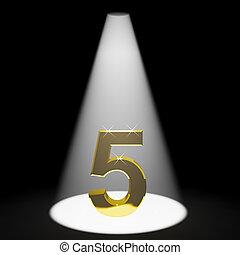 or, 5ème, anniversaire, nombre, anniversaire, représenter, ou, 3d