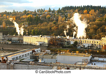 or., altes , papermill, stadt, oregon