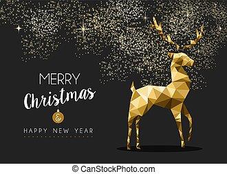 or, année, cerf, joyeux, nouveau, origami, noël, heureux