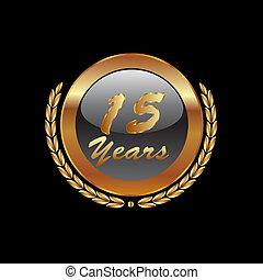 or, années, anniversaire, 15