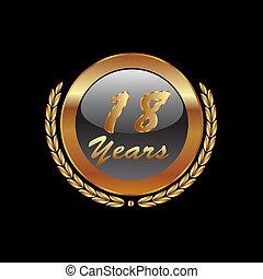 or, années, anniversaire, 18