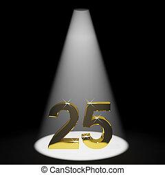 or, anniversaire, nombre, anniversaire, 25e, représenter, ou, 3d