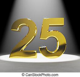 or, anniversaires, nombre, anniversaire, closeup, 25e, représenter, ou, 3d