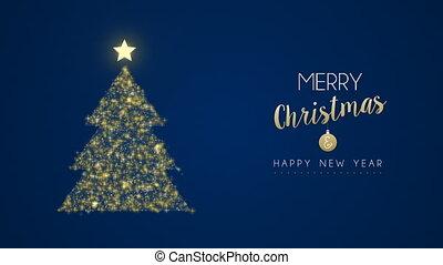 or, arbre, pin, année, nouveau, scintillement, noël carte