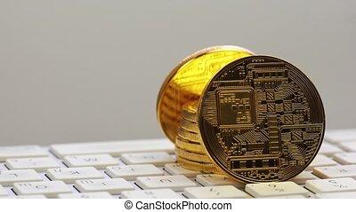 or, argent, bitcoin, crypto, tourner, monnaie, btc, numérique, keyboard., monnaie, argent