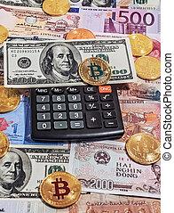 or, argent, bitcoin, fond, électronique, monnaie, calculatrice, noir