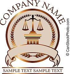 or, avocat, justice, -, balances, cachet, droit & loi, colonne, ou, dorique
