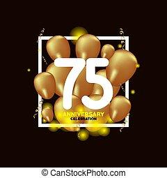 or, balloon, anniversaire, illustration, 75, vecteur, conception, gabarit, année, blanc