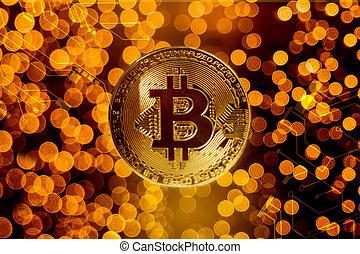 or, bitcoin, contre, lumières, fond, barbouillage, monnaie