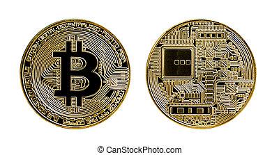 or, bitcoin, isolé, fond, blanc, monnaie