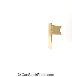 or, blanc, arrière-plan., symbole., icône, illustration, emplacement, 3d, drapeau, isolé, render, marqueur