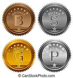 or, bronze, récompense, platine, pièces, argent