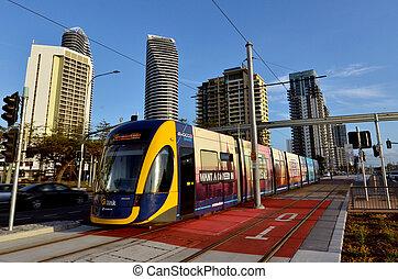 or côte, rail, g, -queensland, lumière, australie