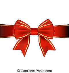 or, cadeau, &, arc, ruban, rouges